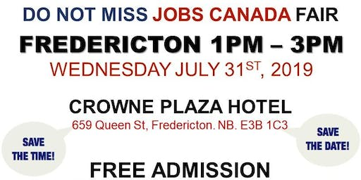 FREE: Fredericton Job Fair – July 31st, 2019