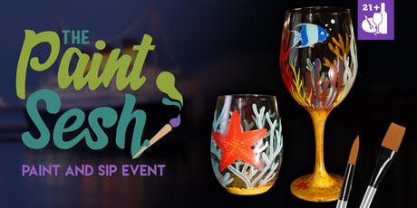 """Paint Night in Riverside, CA - """"Under the Sea"""" Wine Glasses tickets"""