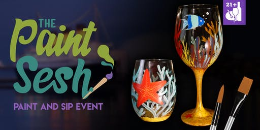 "Paint Night in Riverside, CA - ""Under the Sea"" Wine Glasses"