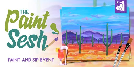"Paint and Sip in Downtown Riverside, CA – ""Saguaro Sunrise"""