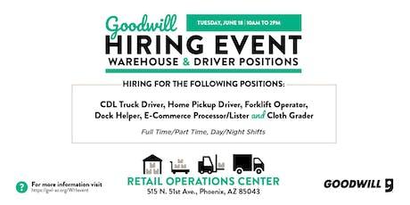 Goodwill Warehouse & Driver Hiring Event tickets