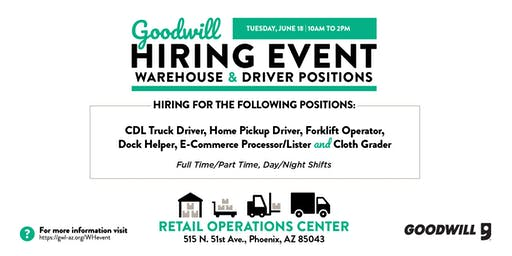 Goodwill Warehouse & Driver Hiring Event