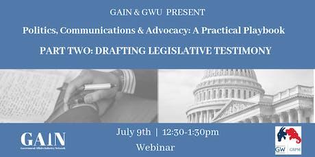 Webinar: Drafting Legislative Testimony  tickets