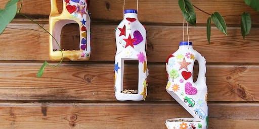 School Holiday Recycle Craft - Milk Bottle Bird Feeders