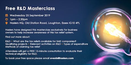R&D Masterclass - Free Event tickets