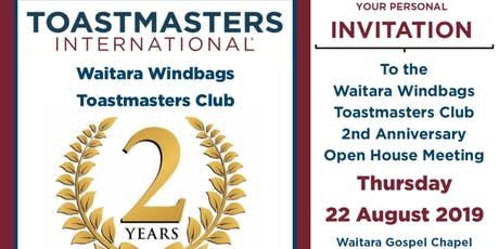 Waitara Windbags Toastmasters Club - 2nd Year Anniversary Open House Meeting tickets