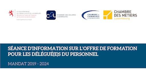 SÉANCES D'INFORMATION: OFFRE DE FORMATION POUR LES DÉLÉGUÉ(E)S DU PERSONNEL