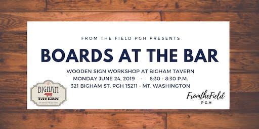 Boards at the Bar at Bigham Tavern