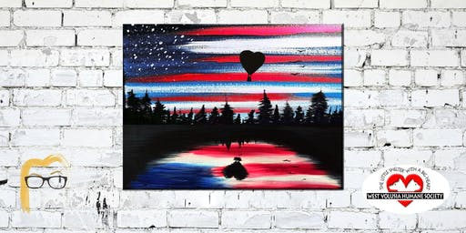 Patriotic American Reflection - Lauren's Art Club - Benefits West Volusia Humane Society