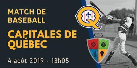 MATCH DE BASEBALL - CAPITALS DE QUÉBEC - EEB C16 billets