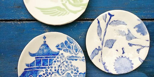 pottery: small plates (with bridgman pottery) **sold out! thank you!