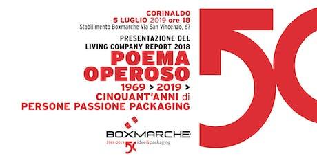 """""""POEMA OPEROSO"""" Presentazione Living Company Report Boxmarche 2018 biglietti"""