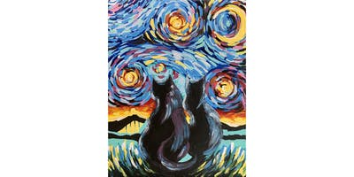 Ally's Art-Midnight dream cats-fun painting class, 4 spots max, Chicago, IL