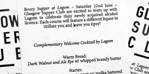 Glasgow Supper Club - Boozy Supper!
