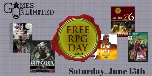Free RPG Day 2019 at Games Unlimited