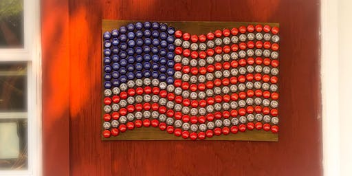 Bottle Cap Flag Plaque with Maryland Craft Parties