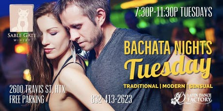 Free Bachata Tuesday Social in Houston @ Sable Gate Winery 08/06 tickets