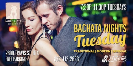 Free Bachata Tuesday Social in Houston @ Sable Gate Winery 08/13 tickets