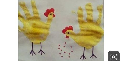 Kid's Hand Painting Chicken Craft Day!