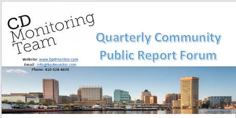 Monitoring Team Quarterly Public Report Forum tickets