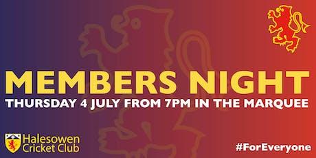 Halesowen Cricket Club Members Night tickets