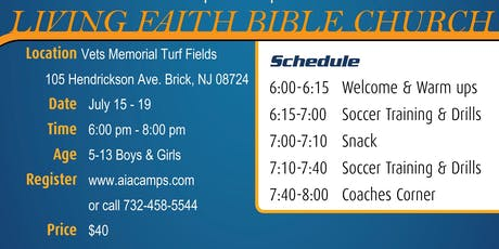 Youth Soccer Camp in Brick NJ (Ages 5-13) Athletes in Action tickets