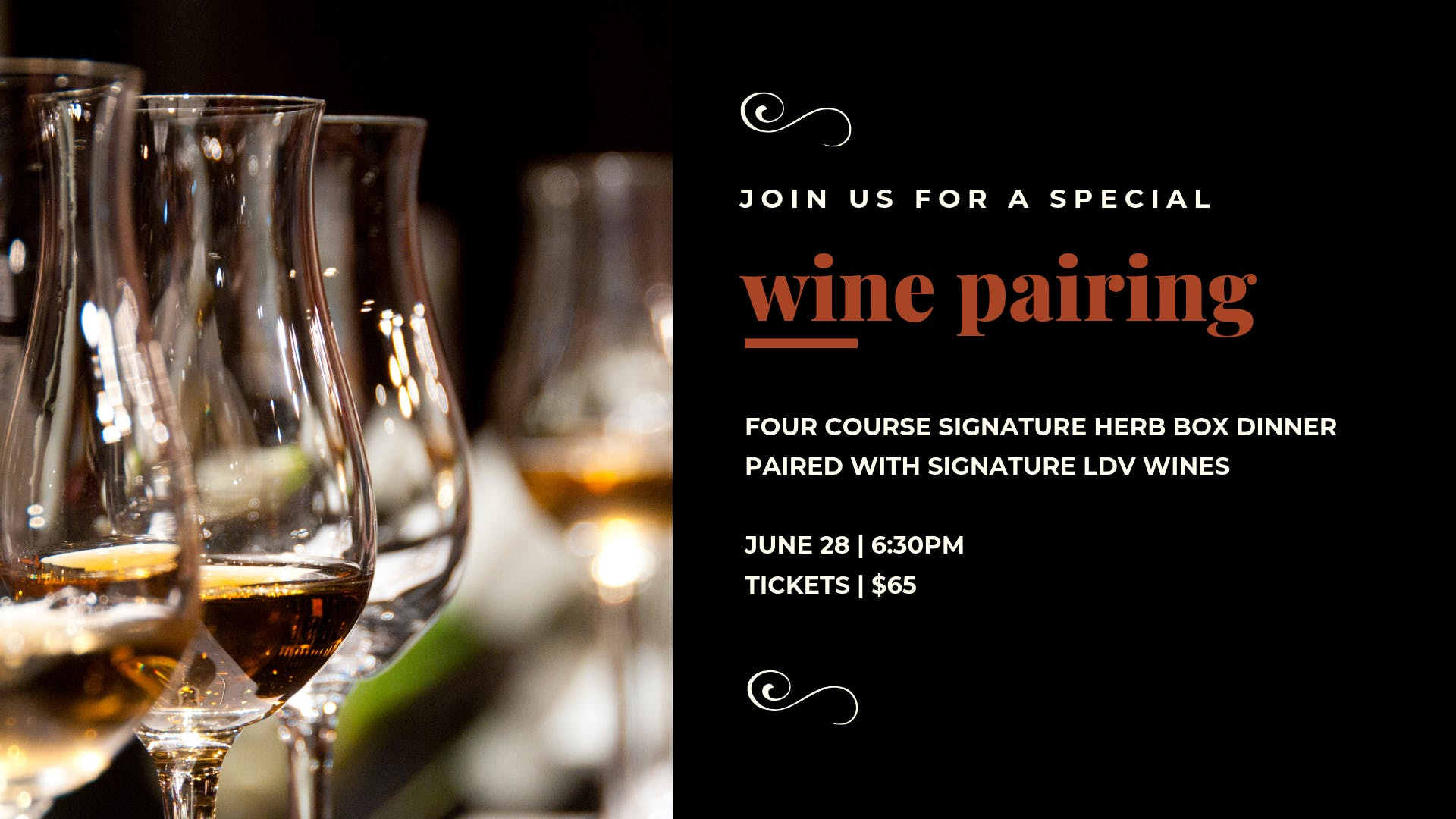 Wine Pairing at The Herb Box with LDV Winery