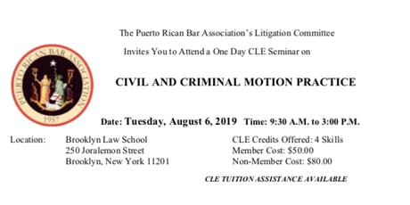 Civil and Criminal Motion Practice CLE tickets