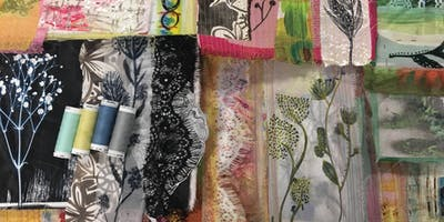 Paper cloth, prints & plants. Creative mixed media textile Lampshades.