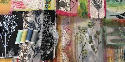 Paper cloth, prints & plants. Creative mixed media textile Lampshades.