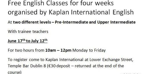 Free English Lessons Dublin