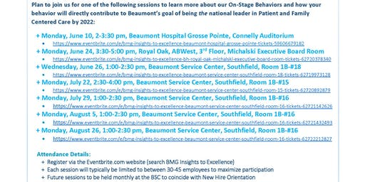 BMG Insights to Excellence - Beaumont Service Center, Southfield, Room #15