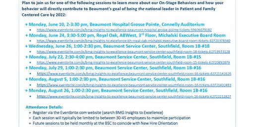 BMG Insights to Excellence - Beaumont Service Center, Southfield, Room #16