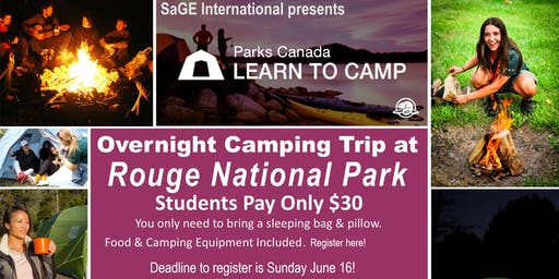 Learn-to-Camp Overnight Camping Trip at Rouge Campground with Parks Canada