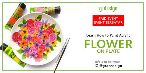 Learn How To Paint Acrylic Flower on Plate (TIDAK GRATIS)
