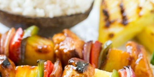 Kids Camp-Hawaiian Kabobs with Coconut Rice