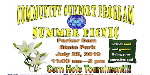 Community Support Program Summer Picnic July 25, 2019 11:00am-2:00pm