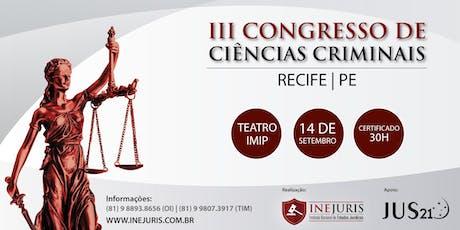 III Congresso de Ciências Criminais ingressos