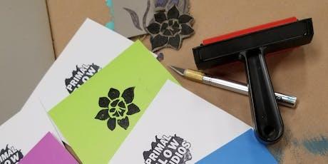 Linocut Printmaking Greeting Card Class tickets