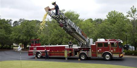 PAL 50/50 Golf Ball Drop from KC Fire Ladder Truck