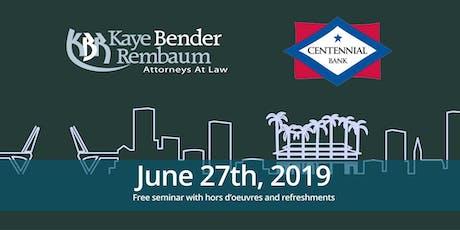 Funding Construction Loans [KBR Legal & Centennial Bank] tickets