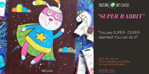 SUPER RABBIT - Kids Holiday Program. Oil Painting