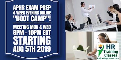 "4 Week Live Evening Online aPHR Exam Prep ""Boot Camp"" Webinar tickets"