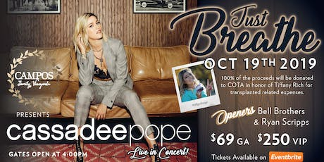 Cassadee Pope - Just Breathe Fundraiser in honor of lung transplant recipient Tiffany Rich tickets