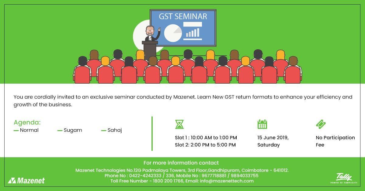 Mazenet Solution : Free GST Seminar In Tally