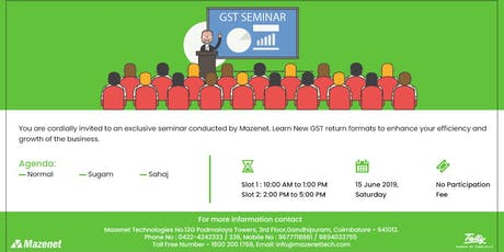 Free GST Seminar In Tally tickets