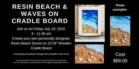 Resin Sandy Beach and Waves on Wooden Cradle Board tickets
