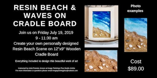 Resin Sandy Beach and Waves on Wooden Cradle Board