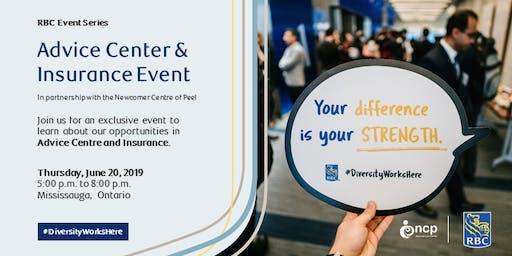 Newcomer Centre of Peel- RBC Advice Centre/Insurance Recruitment Event - June 20, 2019