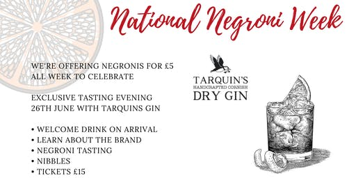 Negroni Tasting with Tarquins Gin